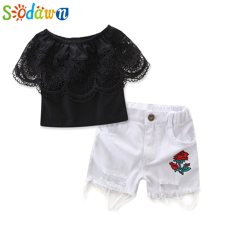 Sodawn Summer ins New European And American Girls Clothing Sets Black Short-Sleeved Shirt+Rose Shorts Girls Clothes