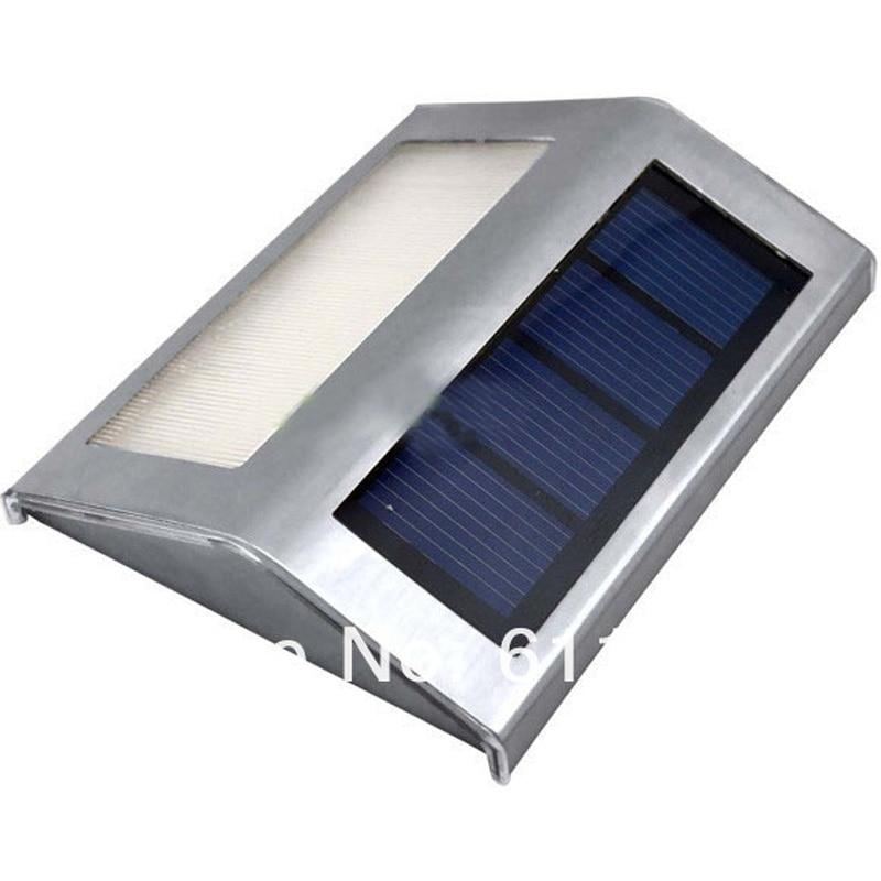 20pcs/lot Stainless Steel Solar Lamp 2 LED Powered Stairways Landscape Garden Path Wall Light Lamp Solar-W-04