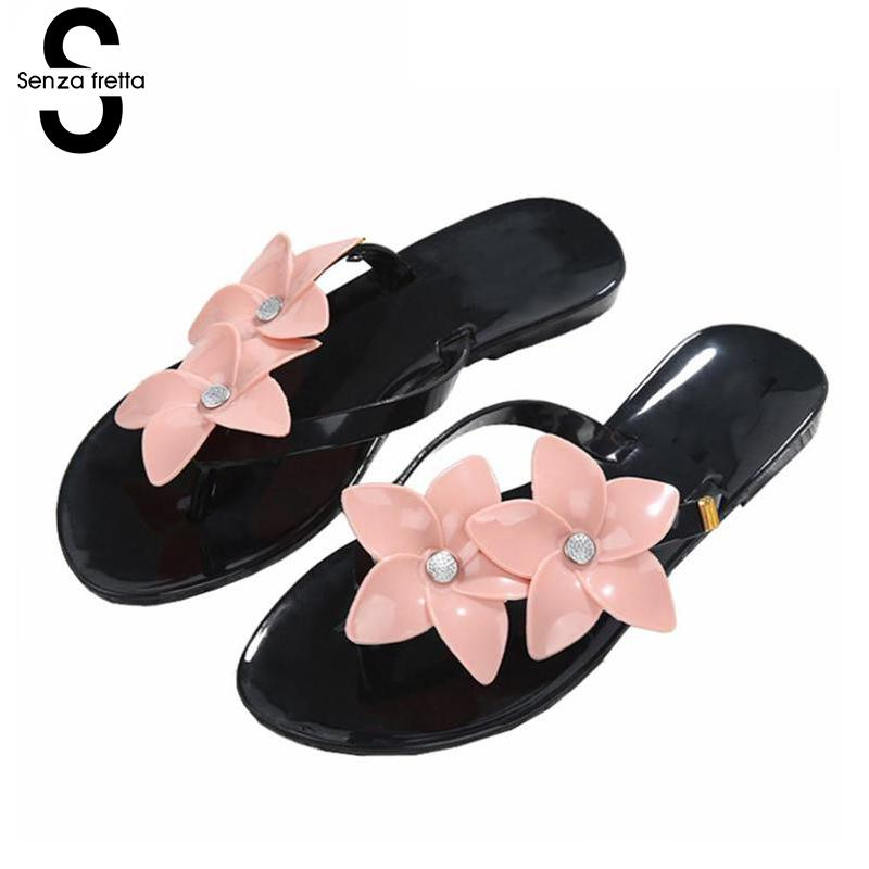 Senza Fretta Summer Women Slippers Flip Flops Women Flower Sandals Female Beach Flip Flops Outside Flat Slides Flip Flops Women henny penny