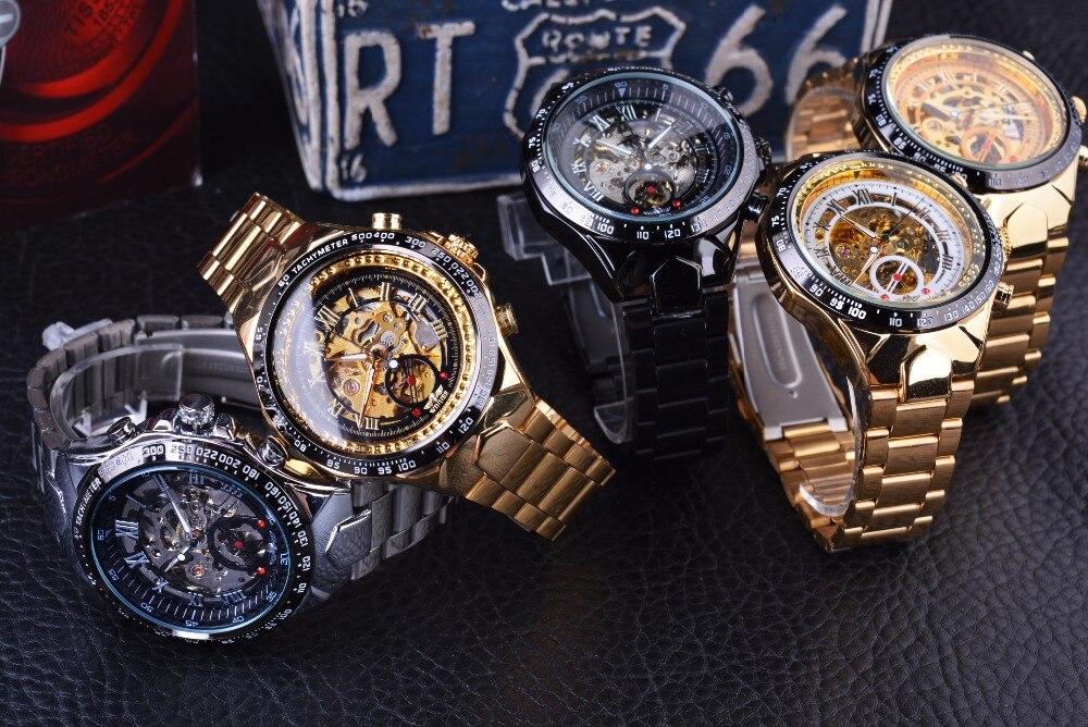 Winner New Number Sport Design Bezel Golden Watch Mens Watches Top Brand Luxury Montre Homme Clock Men Automatic Skeleton Watch 12