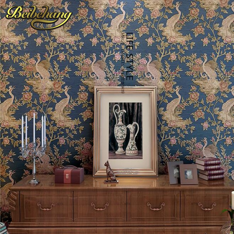 beibehang Chinese high-end 3D stereoscopic deep embossed bedroom living room TV backdrop environmental non-woven wallpaper beibehang chinese high end 3d
