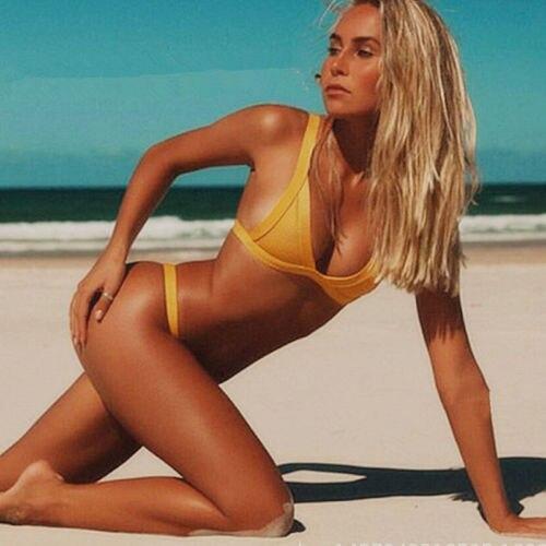 Two-Pieces Womens Sexy Push-up Padded Bandage Solid Bikini Set Swimsuit Woman Swimwear Triangle Brazilian Bathing Suit Beachwear