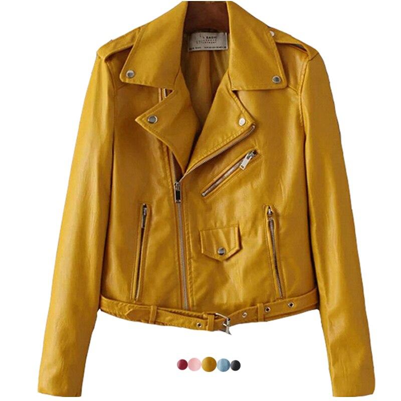 2017 New Fashion Cropped Female Leather Jacket Women Short Motorcycle Biker Jacket Plus Size Pink Blue Black Yellow
