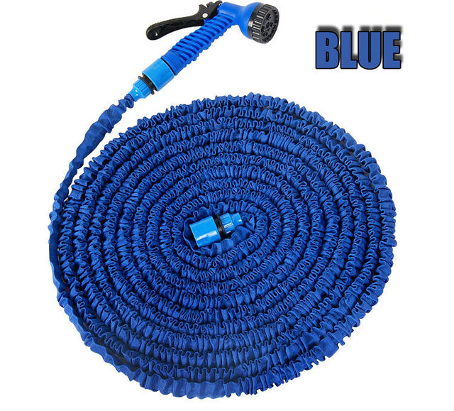 Free Shipping After Stretched Working Lenght 30M Plastic Connector 100FT Blue/green Garden Water Hose+Spray Gun