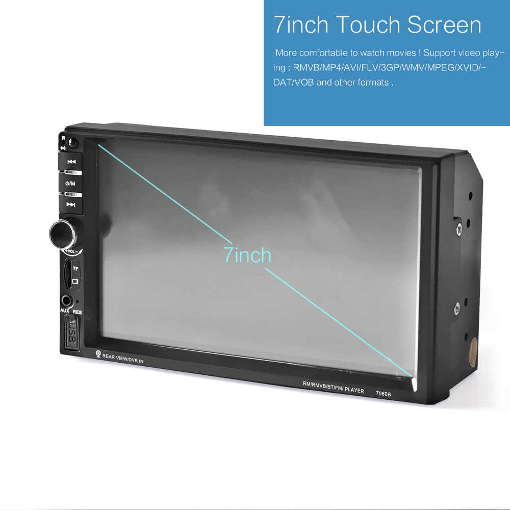 7060B 7 Cal Bluetooth monitor tft samochodu audio stereo MP4 odtwarzacz 12V Auto 2-Din wsparcie AUX FM USB SD MMC wsparcie dla JPEG, WMA, MP5