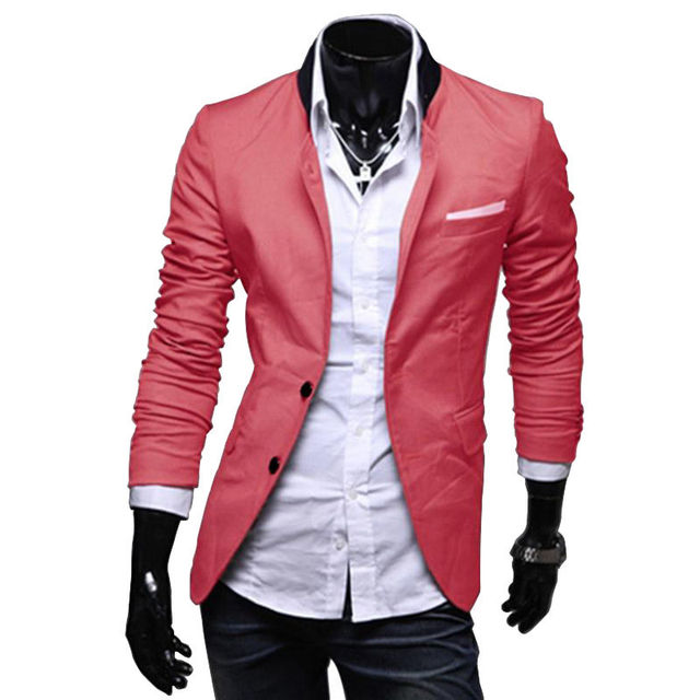 New Stylish Men's Casual Slim Fit Two Button Suit Blazer Coat Leisure Jacket Tops 3 Colors Asia size XS-L