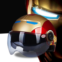 Helmet Male Motorcycle Helmet Female Electric Bicycle Personality Summer Sunscreen Safety Helmet Double Lenses