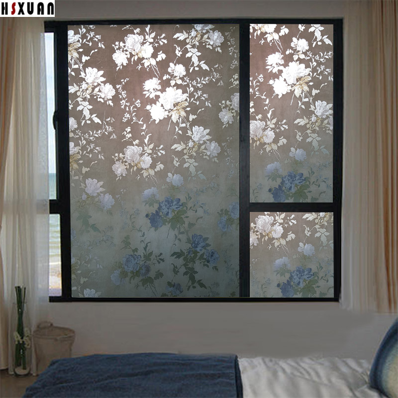 Frosted window privacy films 60x100cm peony flower bedroom Opaque decorative removable tint glass static window stickers 602301