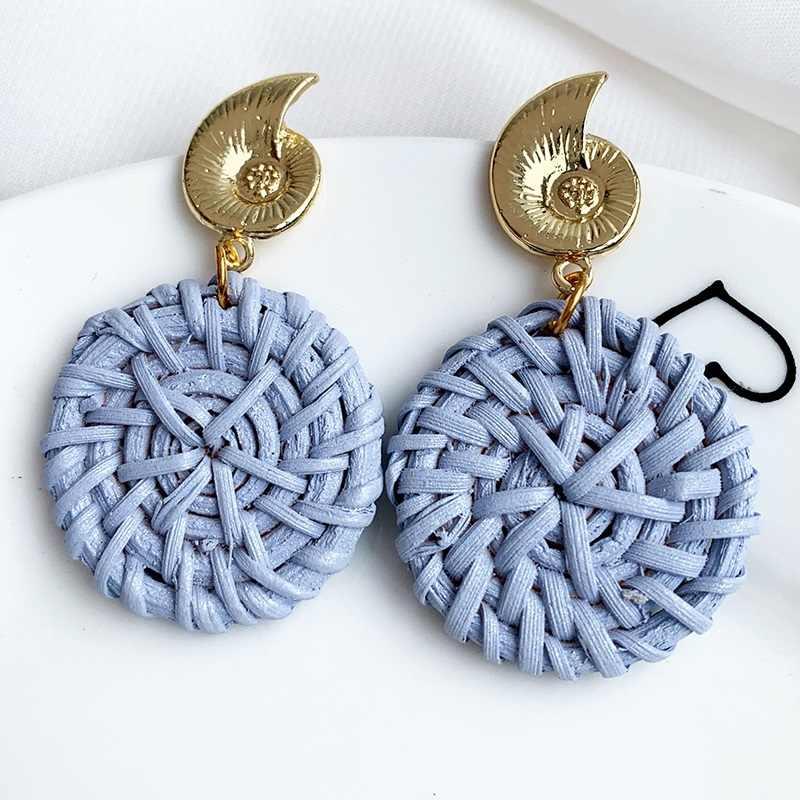 เกาหลี Handmade ไม้ฟางสานหวาย Braid Drop ต่างหู Vintage สีเรขาคณิตดอกไม้มุกยาวต่างหูผู้หญิง