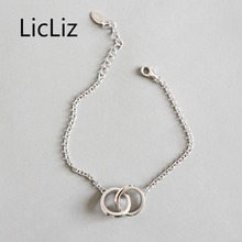 LicLiz 2019 New 925 Sterling Silver Simple Double Round Loop Chain Bracelet for Women Adjustable Link Chain Jewelry Gifts LB0129 licliz 2019 new 925 sterling silver strawberry quartz bangles for women natural moonstone adjustable link chain jewelry lb0132