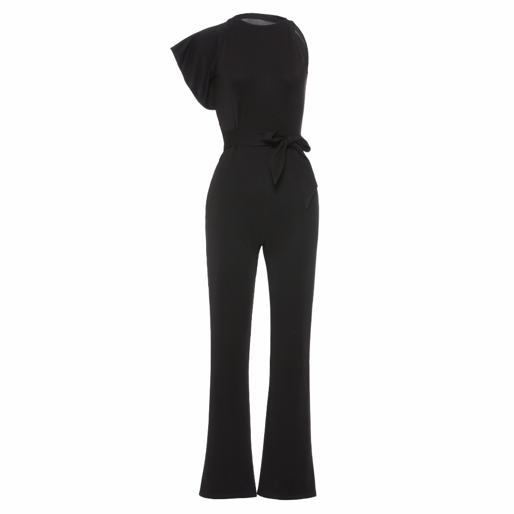new ladies streetwear rompers jumpsuits black asymmetric fashion falbala overalls female thin belts solid sexy summer jumpsuits