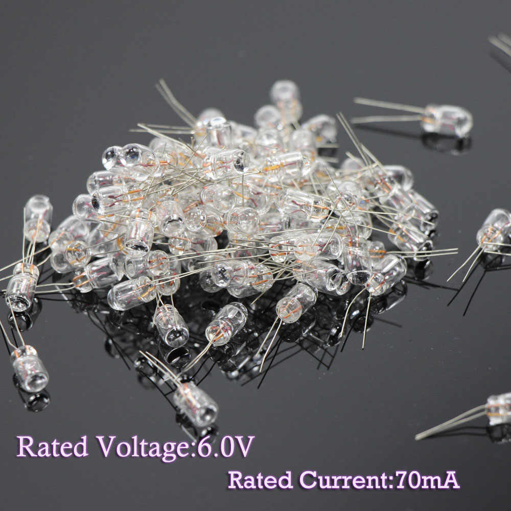 100PCS Clear 3mm 1.5V-6V 70mA-100mA  Miniature Grain of Wheat Bulbs Warm White