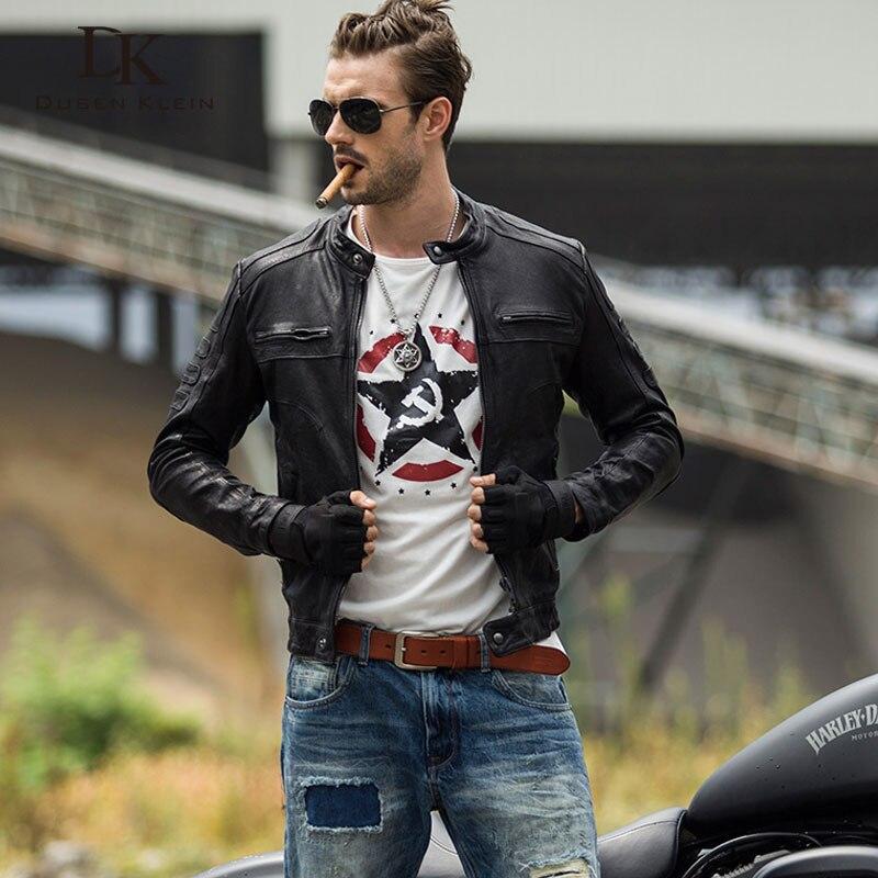 Klein Dusen motocyklowe skórzane płaszcze mężczyzn prawdziwy kożuch zamek/szczupła projektant mody skórzana kurtka jesień czarny 61U8189 w Płaszcze ze skóry naturalnej od Odzież męska na  Grupa 1