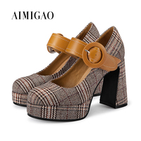 AIMIGAO 2018 Spring New Plaid Cloth Platform High Heel Pump Shoes Round Toe Belt Buckle Mixed Color Fashion Women Office Shoes