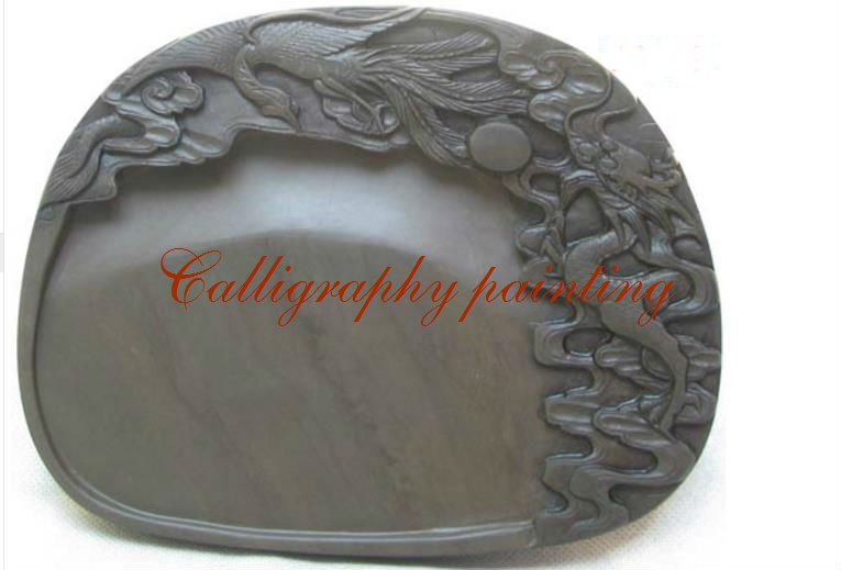 Chinese Zhaoqing Duan Yan Ink Stone Carved Dragon & Phoenix Inkstone 10399 10 inches chinese zhaoqing duan yan ink stone carved dragon inkstone calligraphy painting tool 12635