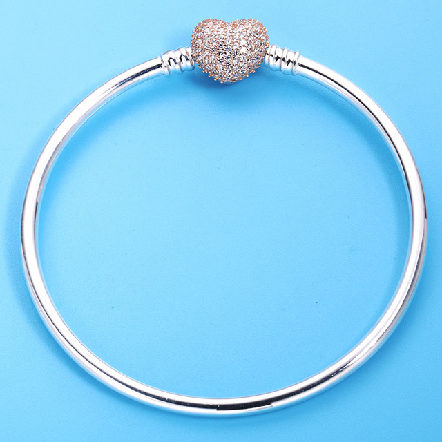 ab610f115 925 Sterling Silver Rose Gold Moments Pave Heart Clasp Crystal Pan Bracelet  Bangle Fit Women Bead Charm Diy Europe Jewelry