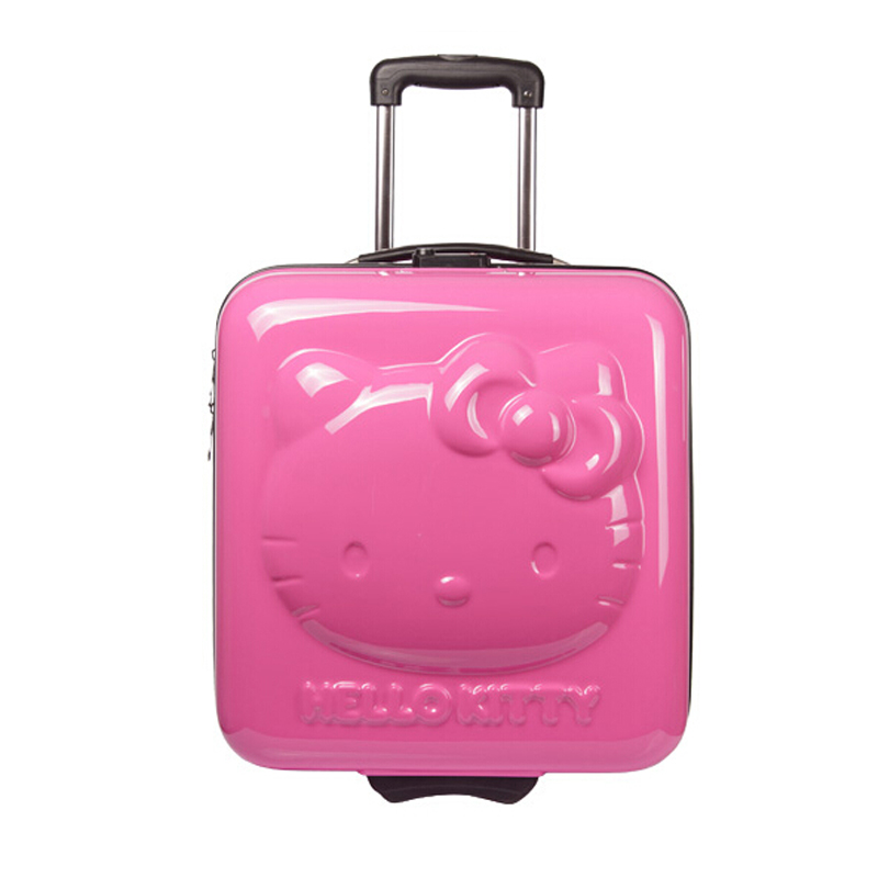 HOT!Lovely hello Kitty 18 inches girl students cartoon Pull rod box trolley case 3D child Travel luggage suitcase Boarding box