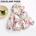 2016 Autumn Girls Outerwear long sleeve winter Baby Girls Coat Jackets Cute Cartoon Graffiti Kids Children Jackets For Girls