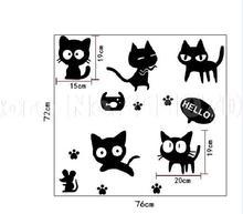 Cartoon black cat cute DIY Vinyl Wall Stickers For Kids Rooms Home Decor Art Decals 3D Wallpaper decoration adesivo de parede