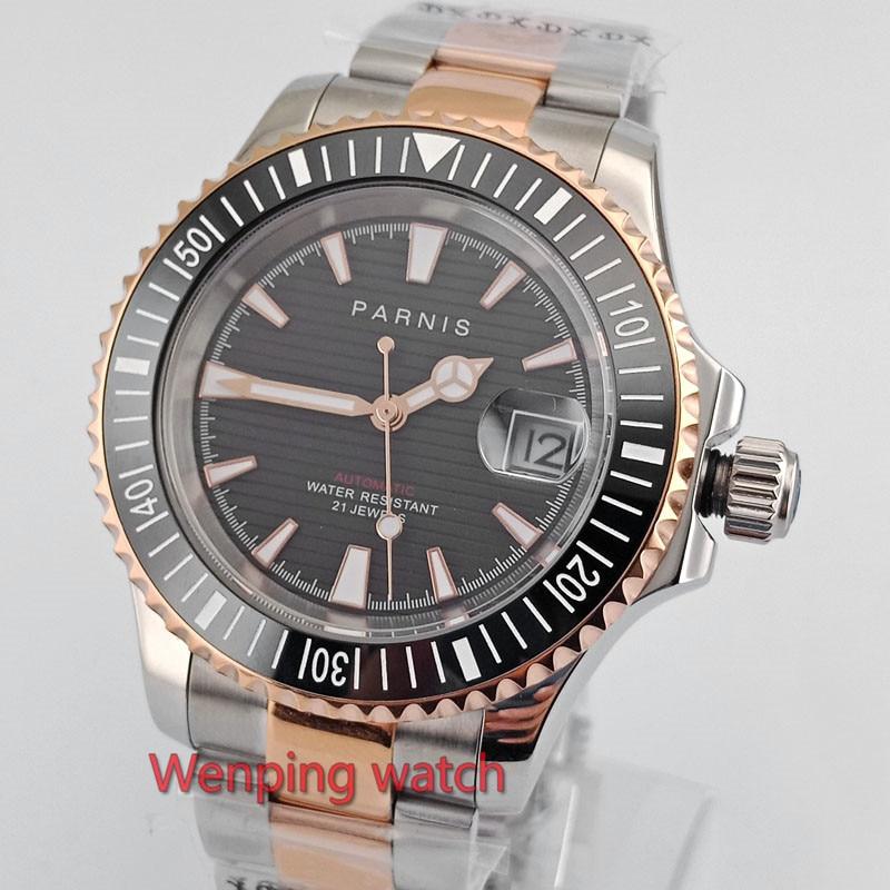 고급 41mm 골드 도금 parnis 시계 블랙 다이얼 사파이어 축광 세라믹 베젤 자동식 손목 시계 남성 e2630-에서기계식 시계부터 시계 의  그룹 2