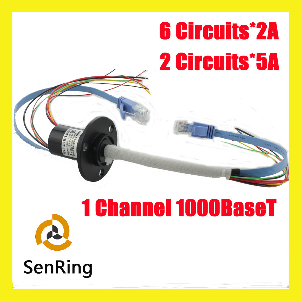 RJ45 Ethernet connector 1channel 1000BaseT 6 circuits 2A+2 circuits 5A ethernet slip ring with OD 22mm