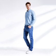 Фотография 2017 Mens Jeans New Fashion Men Casual Jeans Slim Straight High Elasticity Feet Jeans Loose Waist Long Trousers