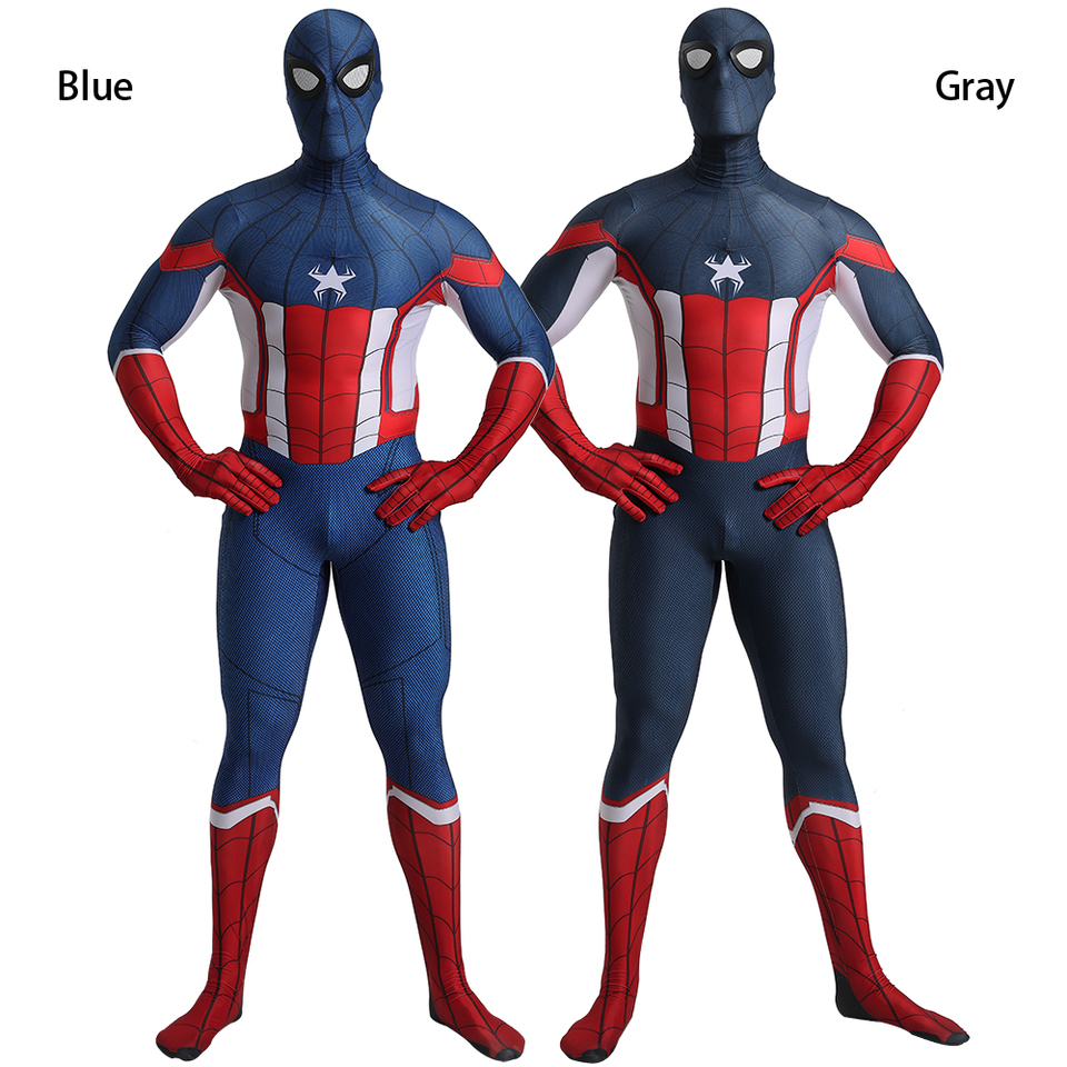 New Design Captain America Spider Man Costume Cosplay Zentai Suit Superhero Costume Zentai Aliexpress