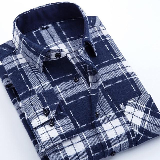 Casual Men Plaid Shirt Spring Autumn Flannel Shirt Men Dress Shirts Fashion Long Sleeve Slim Fit Chemise Homme Cotton Male Shirt 4