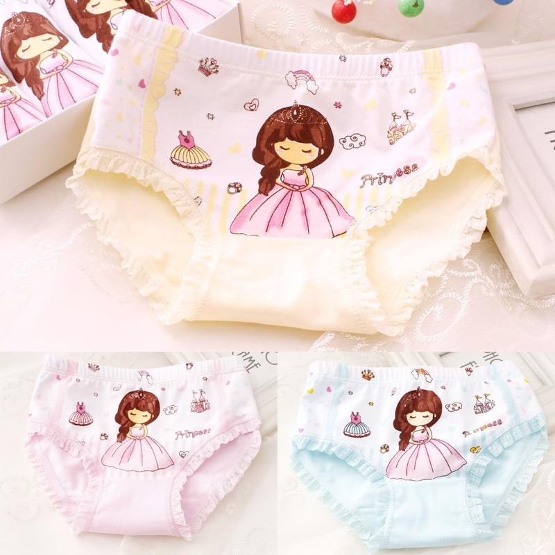 4PCS/LOT Kids Girls Cotton Panties Children Underwear Briefs 3-9Yrs