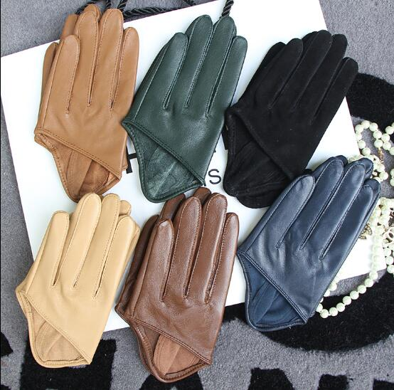 Women's Runway Fashion Natural Sheepskin Leather Half Palm Gloves Female Performance Dancing Genuine Leather Glove  R1350