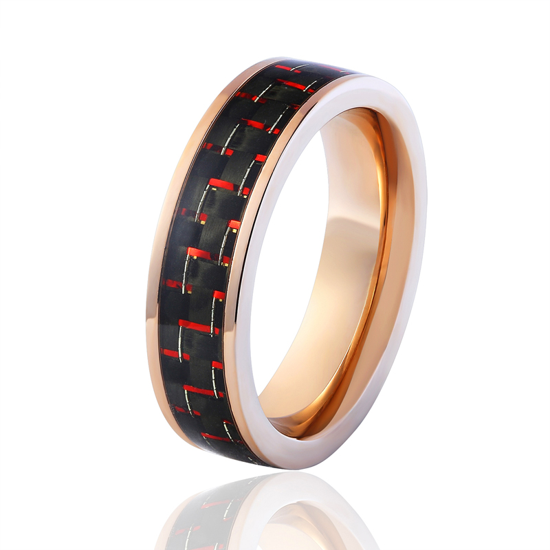 Carbon Fiber Diamontrigue Jewelry: 2017 New Rose Gold Colour Red And Black Carbon Fiber Ring