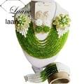 Hecho a mano Blanco y Verde Oliva Crystal Nigeriano Boda Africana Cuentas de Collar de Perlas Pulsera de La Joyería Nupcial Conjuntos G770