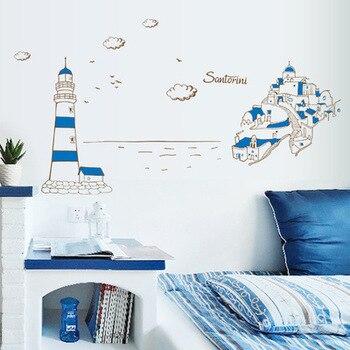 Escenario de TV Blue harbor de PVC para pared tres generaciones de pegatinas de pared en la pared