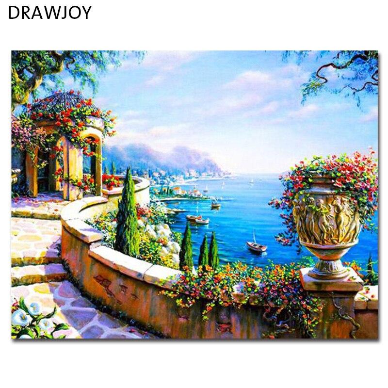 Seascape Tela Dai Numeri Frameless Pitture Murali Tela FAI DA TE Pittura A Olio Home Decor Per Soggiorno GX7197 40*50 cm