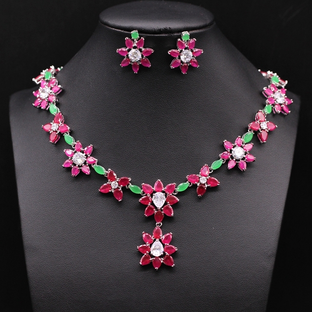 Gorgeous Jewelry White Gold Plated Flowers Green Red Zircon Necklace Earrings Set Party Accessories For Women