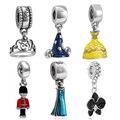 Eccosa Plateado Plata Perles Sorcerer Mickey Encantos Corona Sombrero del Grano Del Encanto Adapta A Pandora Original Pulsera Mejores Regalos Berloque
