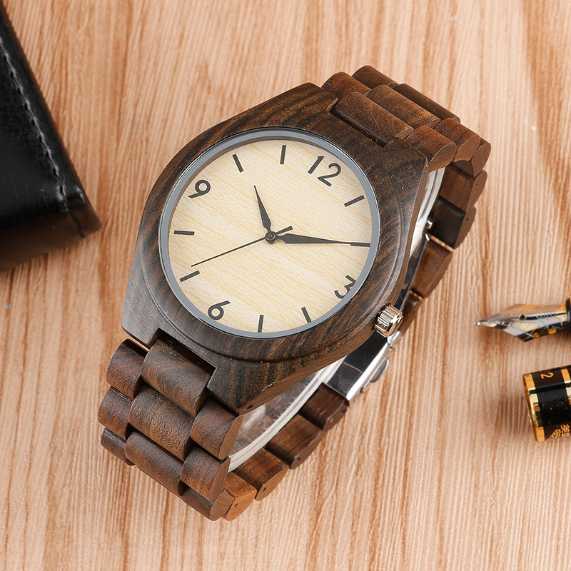 Full Sandalwood Bracelet Watches Bangle Classic Vintage Fashion Women Men Quartz Wristwatch Analog Wood Bamboo Clock Fold Clasp l 10 women s stylish petals style bracelet quartz analog wristwatch golden white 1 x lr626