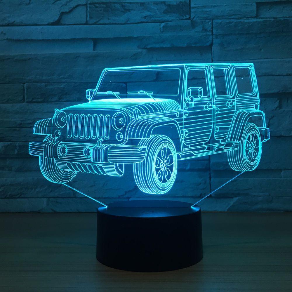 3D LED Auto Nachtlicht Gradienten Jeep Form USB Nachttischlampe Schlafzimmer 3D Tischlampe USB Innendekor Atmosphäre lampe Geburtstag Neues Geschenk