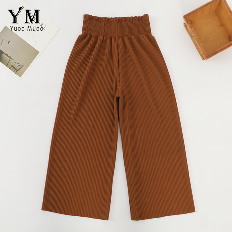 YuooMuoo Casual Wide Leg Summer   Pants   Solid Color Loose High Waist Trousers Elastic Waist Harem   Pants   Streetwear Pleated   Capris