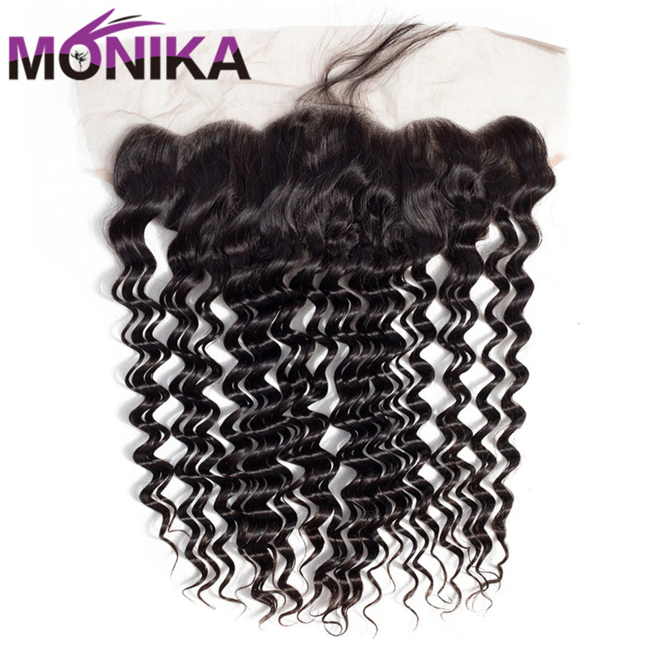 Monika Hair Peruvian Deep Wave Closure 13x4 Pre Plucked Ear To Ear Lace Frontal Closure 130% Density Human Hair Swiss Lace
