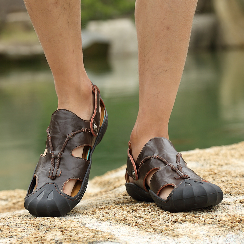 6faac3a14 DILIKAN Handmade Large Size Men Genuine Leather Sandals Soft Outdoor  Fashion Walking Sandals Men Lace Up Casual Sandals Flat Men-in Men s Sandals  from Shoes ...