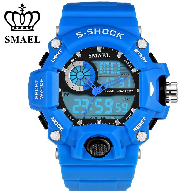 Prix pour Nouveau SMAEL Marque Sport Montres Bleu Étanche LED Numérique de Quartz Double Affichage Montre Hommes Montre-Bracelet relogio masculin WS1385