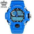 Nova smael marca esportiva relógios à prova d' água azul led digital quartz duplo mostrador do relógio dos homens relógio de pulso masculino relogio ws1385