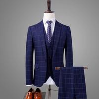 (jacket + vest + trousers)niceness 2019 leisure men's slim fit suit three piece/fashion high grade male business grid blazers