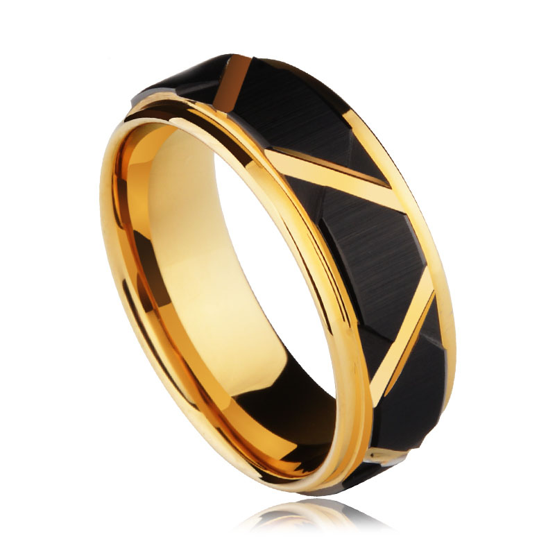 8mm Width Tungsten Carbide Wedding Ring Black Faceted Design Mens