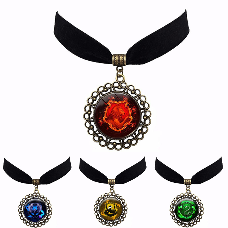 New 4Pcs Anime Harric Potter Four colleges magic rights logos Action Toys Figure Ball Anime Necklace Pendant Unisex Toys