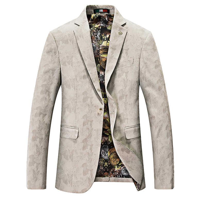 Мужские модные вечерние Марка Blazer Повседневное Slim Fit хлопковый костюм куртка мужской печати пиджаки дружки пальто Высокое качество свадебное платье