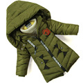 Детские зимние куртки Новые Мальчики Куртка хлопок Теплые Пальто дети Детские christmasThick хлопка-проложенный одежды Для Мальчиков Верхняя Одежда замер