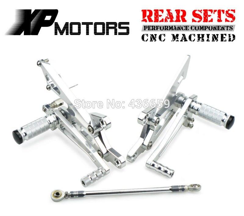 Motorcycle Silver CNC Billet Racing Adjustable  Foot Pegs Rear Sets For Honda VFR400 NC30 RVF400 NC35