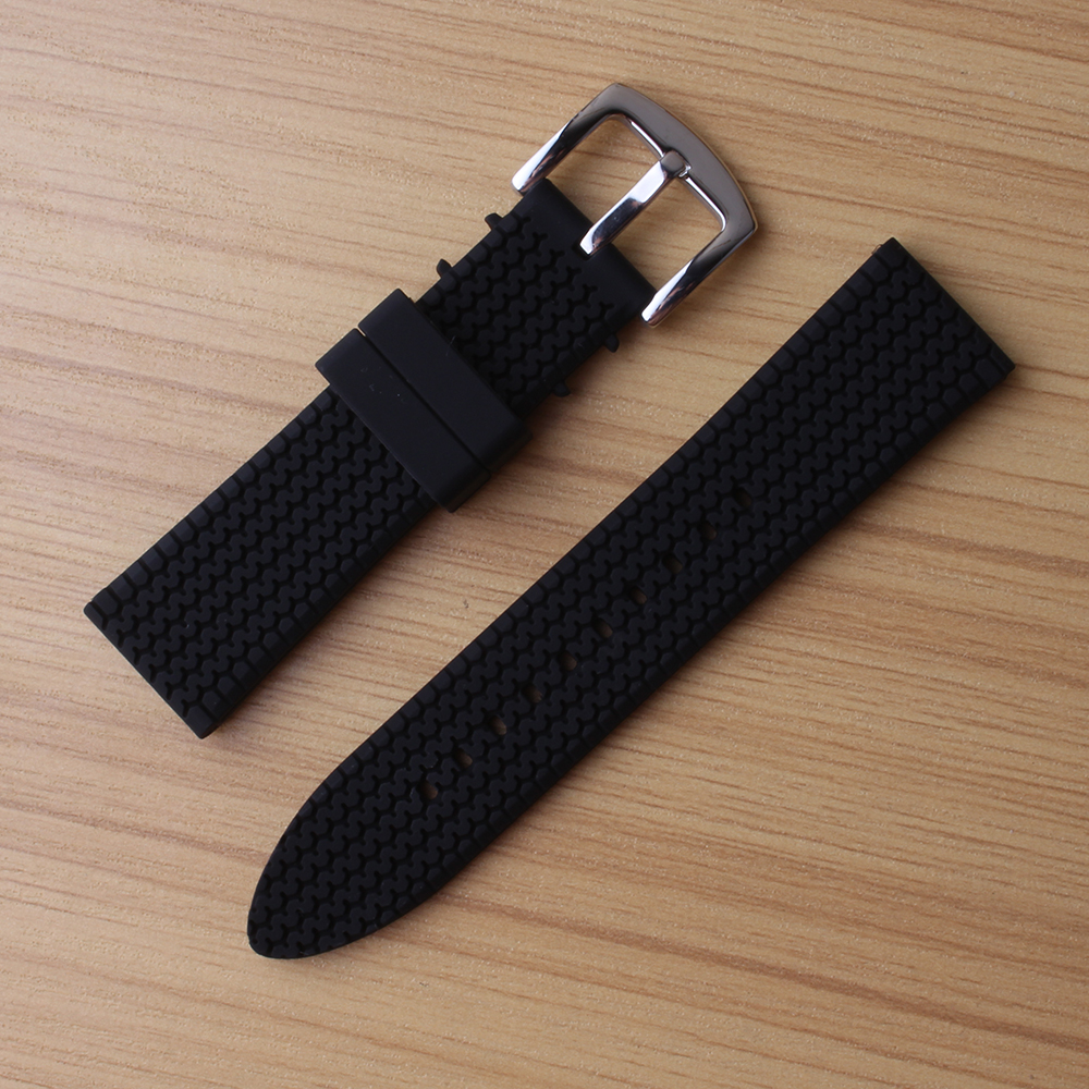 22mm Rubber Watch Band Straps Men Soft Diving Black Silicone Sport Watchband Bracelets Metal Pin Buckle wrist watch Accessories le petit marseillais гель крем для душа роза прованса 250 мл page 5 page 1 page 1 page 3